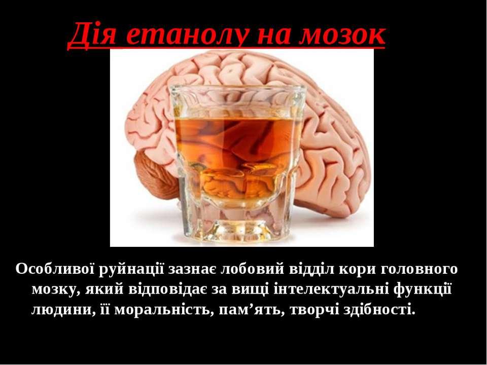 Дія етанолу на мозок Особливої руйнації зазнає лобовий відділ кори головного ...