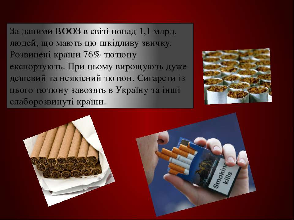 За даними ВООЗ в світі понад 1,1 млрд. людей, що мають цю шкідливу звичку. Ро...