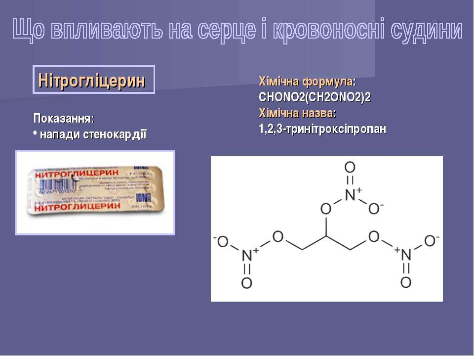 Нітрогліцерин Показання: напади стенокардії Хімічна формула: CHONO2(CH2ONO2)2...