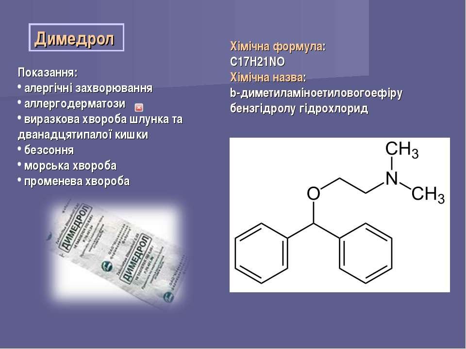Димедрол Показання: алергічні захворювання аллергодерматози виразкова хвороба...
