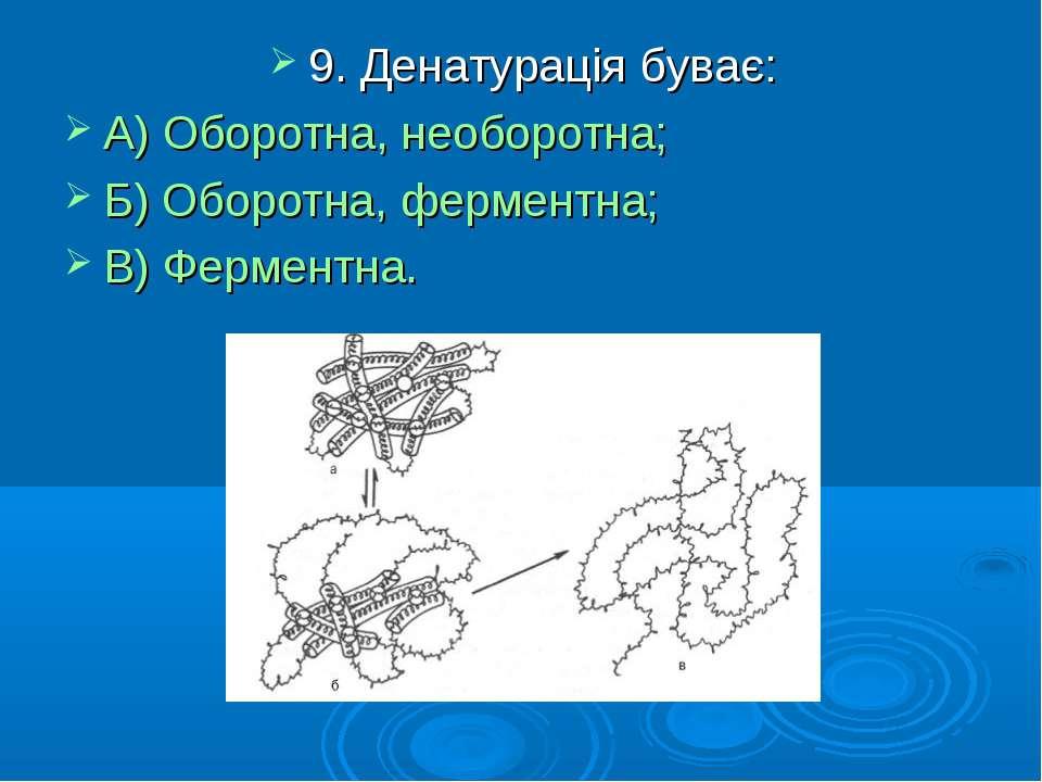 9. Денатурація буває: А) Оборотна, необоротна; Б) Оборотна, ферментна; В) Фер...
