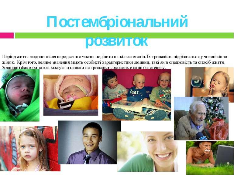 Постембріональний розвиток Період життя людини після народження можна поділит...