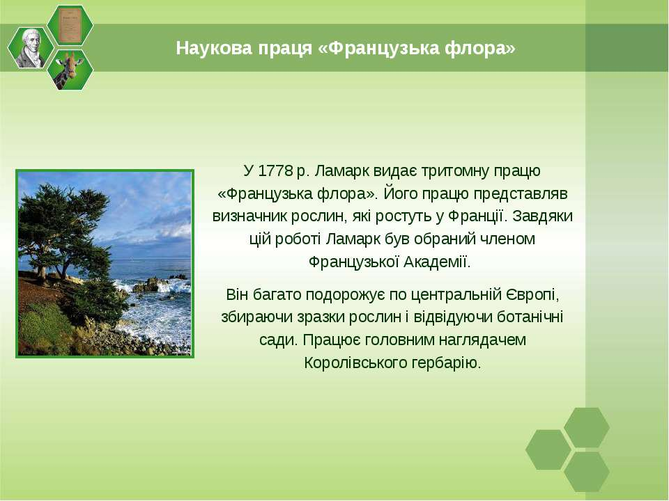Наукова праця «Французька флора» У 1778 р. Ламарк видає тритомну працю «Франц...