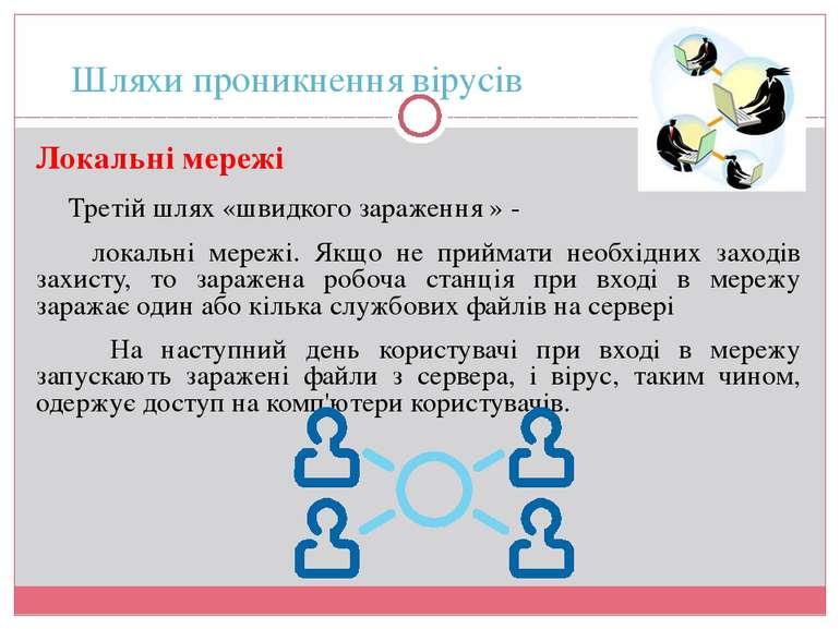 Шляхи проникнення вірусів Локальні мережі Третій шлях «швидкого зараження » -...