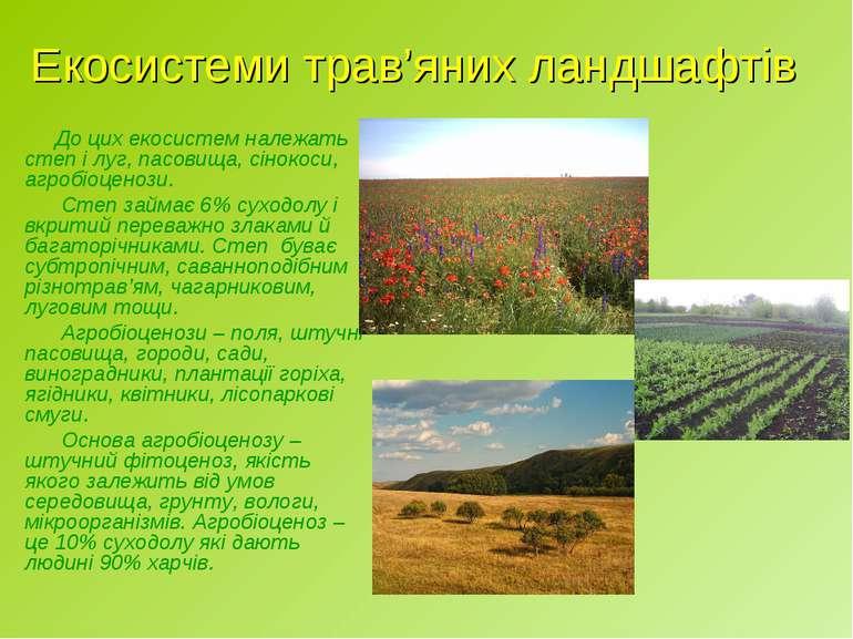 Екосистеми трав'яних ландшафтів До цих екосистем належать степ і луг, пасовищ...