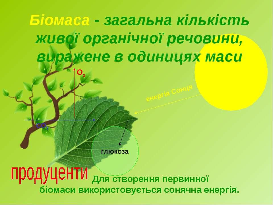 Біомаса - загальна кількість живої органічної речовини, виражене в одиницях м...