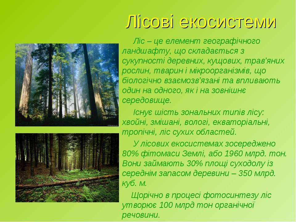 Лісові екосистеми Ліс – це елемент географічного ландшафту, що складається з ...