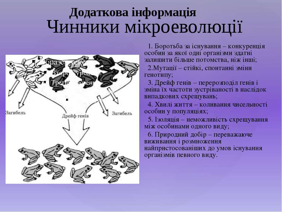 Чинники мікроеволюції 1. Боротьба за існування – конкуренція особин за якої о...