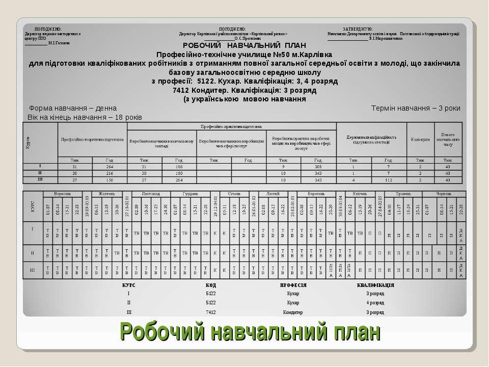 Робочий навчальний план РОБОЧИЙ НАВЧАЛЬНИЙ ПЛАН Професійно-технічне училище №...