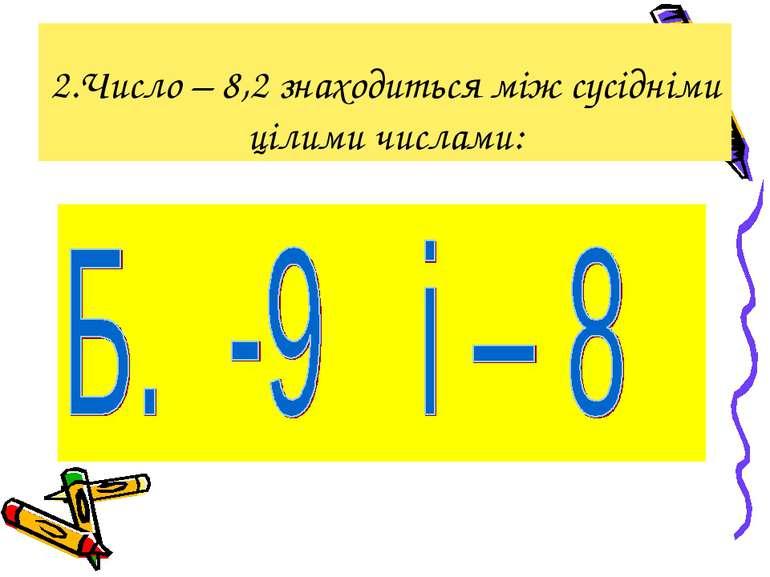 2.Число – 8,2 знаходиться між сусідніми цілими числами: