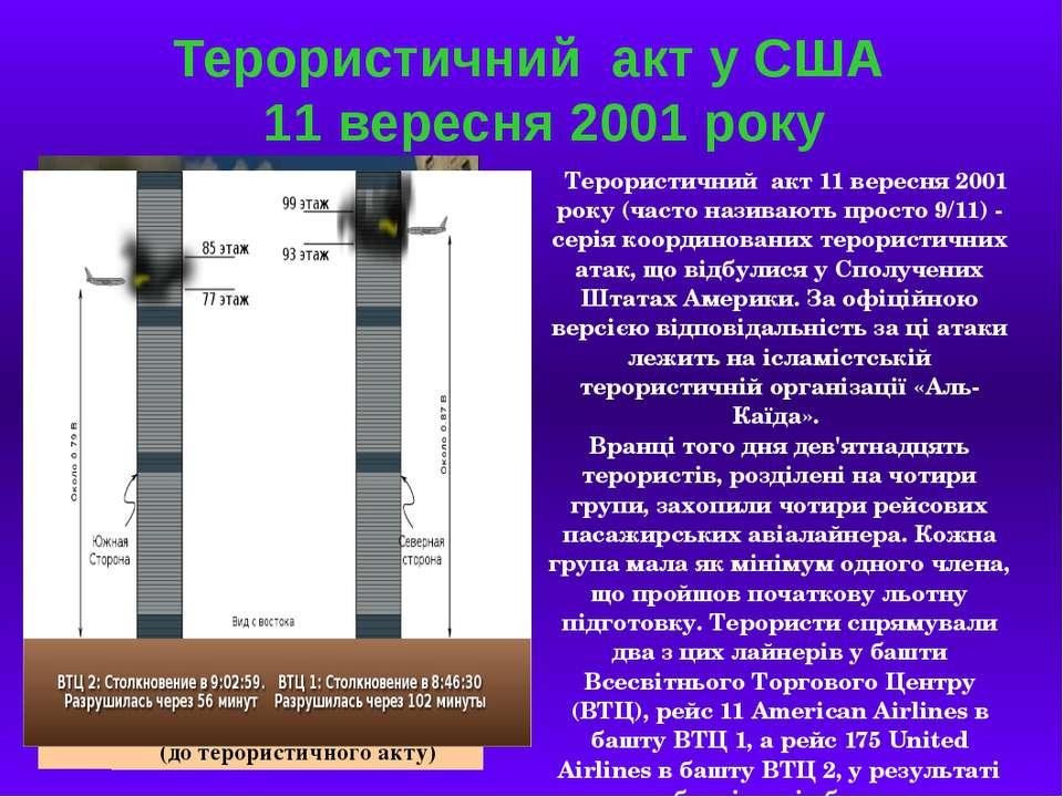 Терористичний акт у США 11 вересня 2001 року Терористичний акт 11 вересня 200...