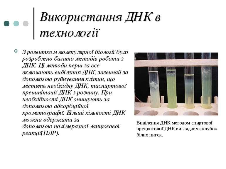 Використання ДНК в технології З розвиткоммолекулярної біологіїбуло розробле...
