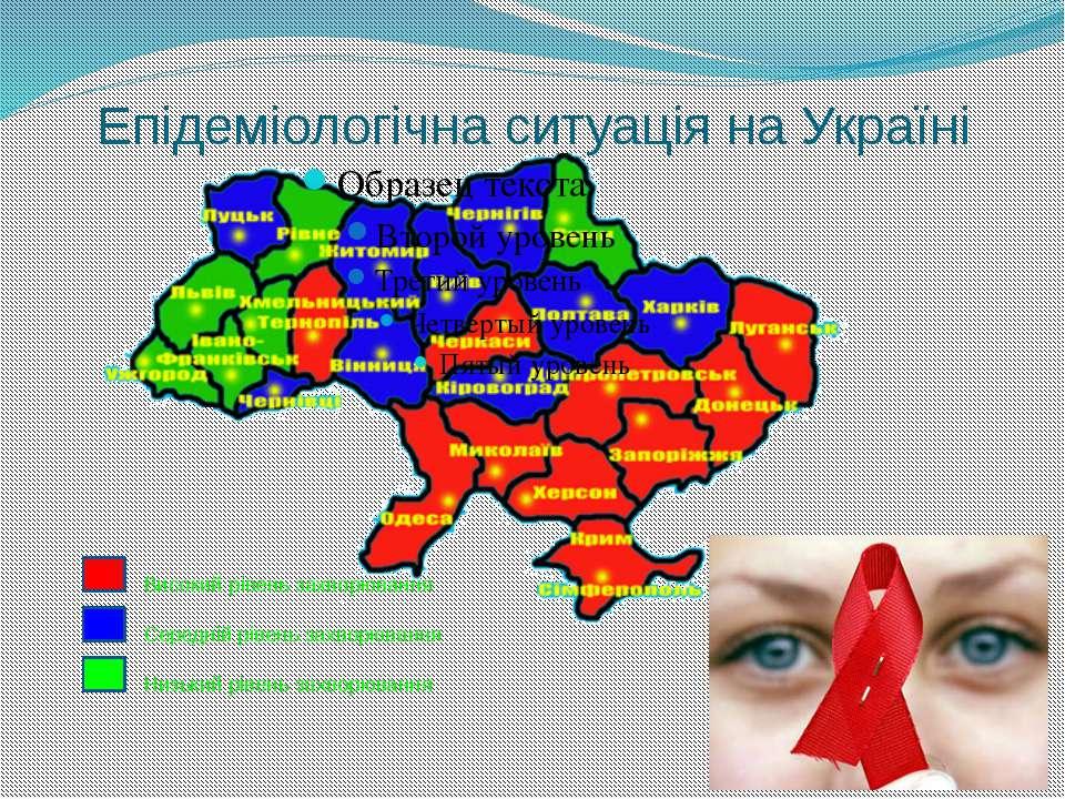 Епідеміологічна ситуація на Україні Високий рівень захворювання Середній ріве...