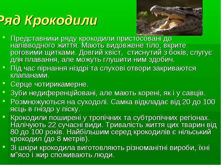 Ряд Крокодили Представники ряду крокодили пристосовані до напівводного життя....