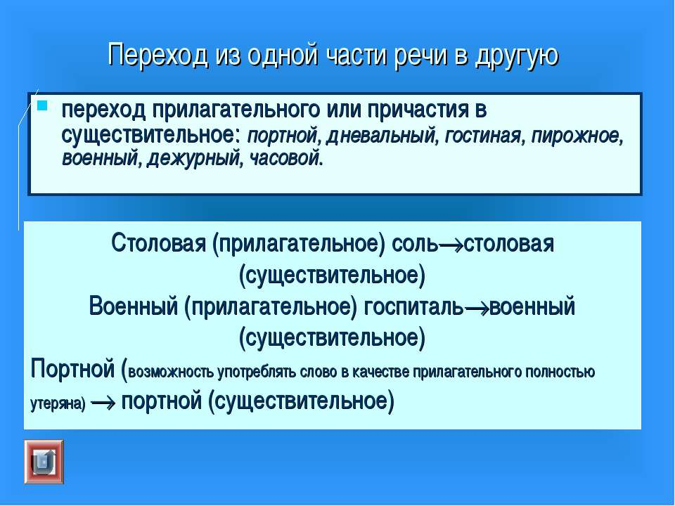 Переход из одной части речи в другую переход прилагательного или причастия в ...