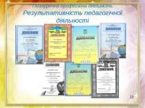 Позаурочна професійна діяльність Результативність педагогічної діяльності 12