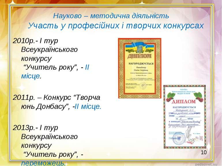 Науково – методична діяльність Участь у професійних і творчих конкурсах 2010р...