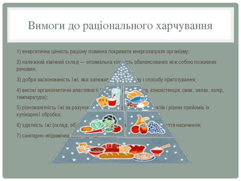 Вимоги до рацiонального харчування 1) енергетична цiннiсть рацiону повинна по...