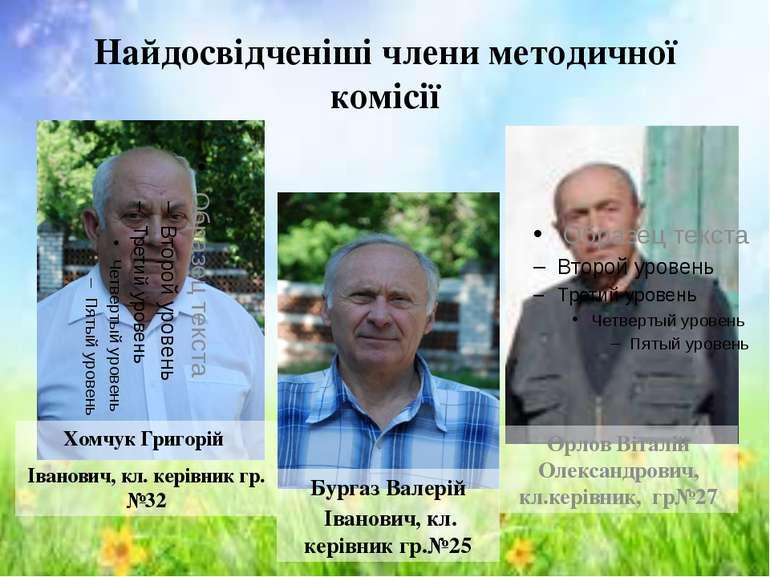 Найдосвідченіші члени методичної комісії Хомчук Григорій Іванович, кл. керівн...