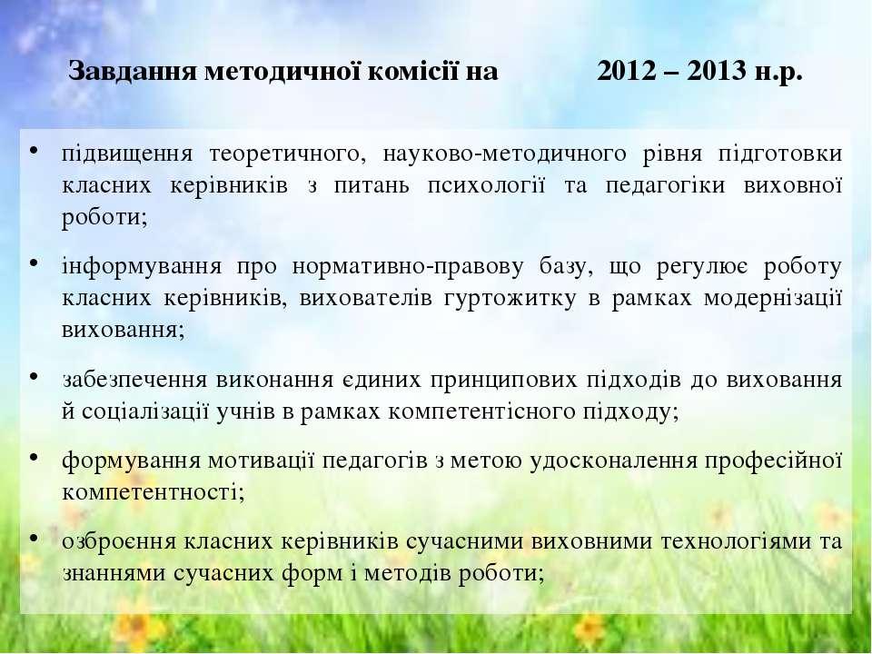 Завдання методичної комісії на 2012 – 2013 н.р. підвищення теоретичного, наук...