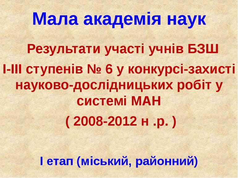 Мала академія наук Результати участі учнів БЗШ І-ІІІ ступенів № 6 у конкурсі-...