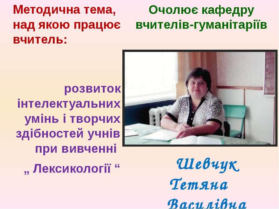 Очолює кафедру вчителів-гуманітаріїв Методична тема, над якою працює вчитель: