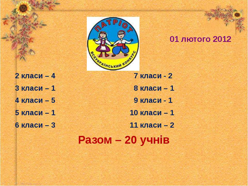 2 класи – 4 7 класи - 2 2 класи – 4 7 класи - 2 3 класи – 1 8 класи – 1 4 кла...