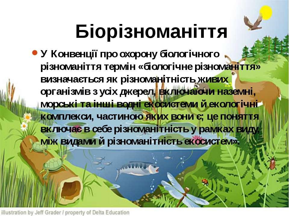 Біорізноманіття У Конвенції про охорону біологічного різноманіття термін «біо...