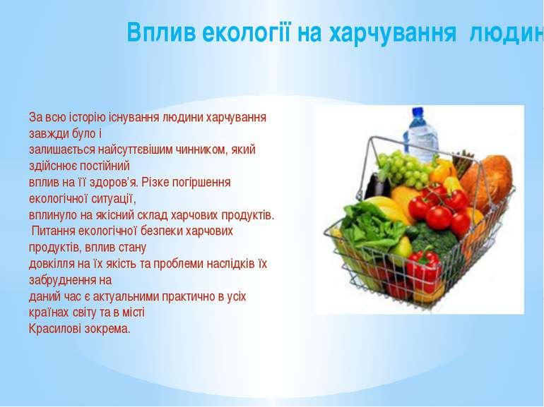 Вплив екології на харчування людини За всю історію існування людини харчуванн...