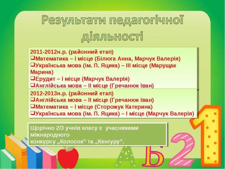 2011-2012н.р. (районний етап) Математика – І місце (Білюга Анна, Марчук Валер...