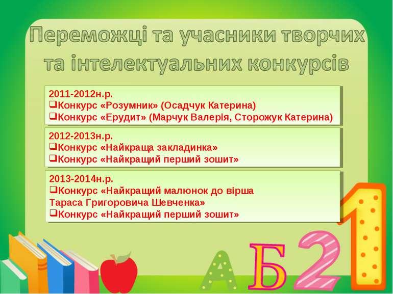 2011-2012н.р. Конкурс «Розумник» (Осадчук Катерина) Конкурс «Ерудит» (Марчук ...