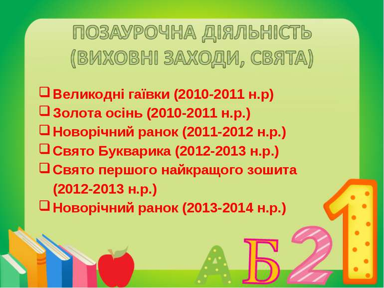 Великодні гаївки (2010-2011 н.р) Золота осінь (2010-2011 н.р.) Новорічний ран...