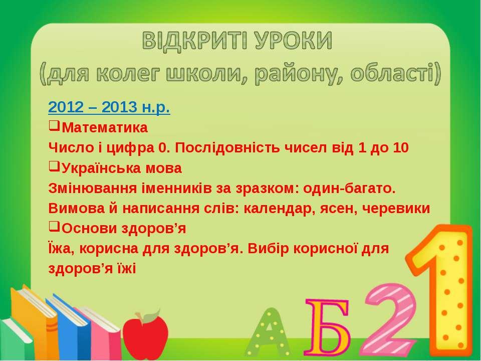 2012 – 2013 н.р. Математика Число і цифра 0. Послідовність чисел від 1 до 10 ...