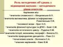Роль методичних об'єднань у підвищенні науково – методичного рівня вчителів К...