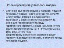 Роль герпевірусів у патології людини Вивчення ролі герпесвірусів у патології ...
