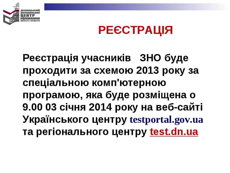 РЕЄСТРАЦІЯ Реєстрація учасників ЗНО буде проходити за схемою 2013 року за спе...