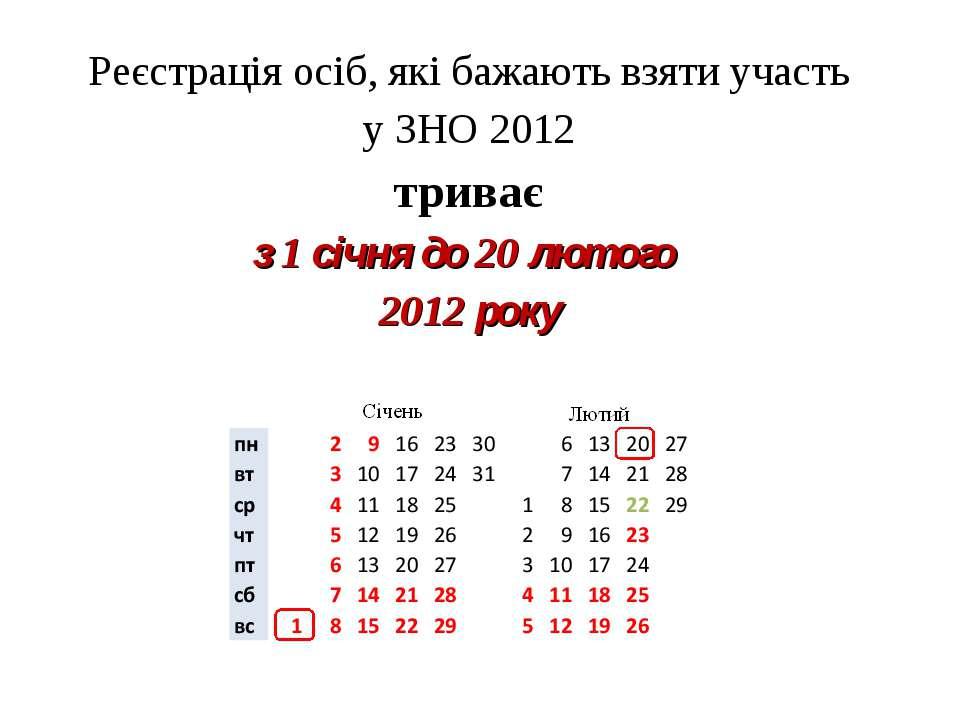 Реєстрація осіб, які бажають взяти участь у ЗНО 2012 триває з 1 січня до 20 л...