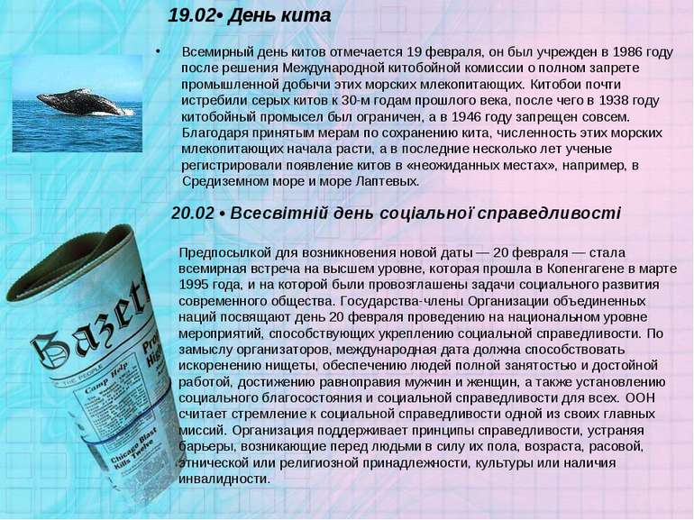 19.02• День кита Всемирный день китов отмечается 19 февраля, он был учрежден ...