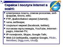 Сервіси і послуги Internet в освіті: електронна пошта, списки розсилки, веб-ф...
