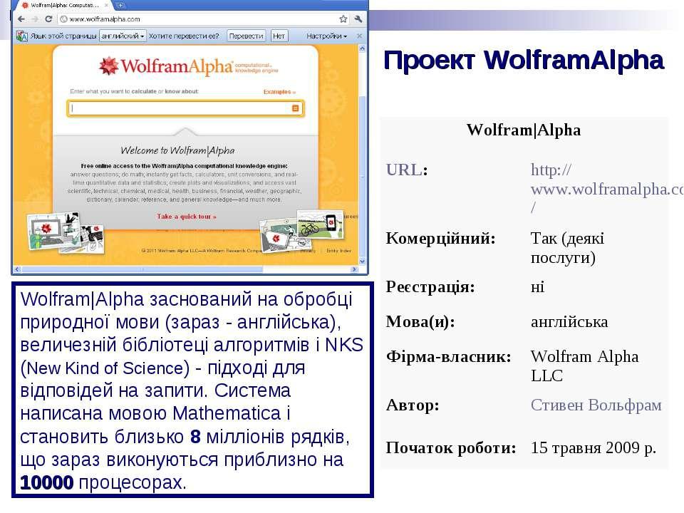 Проект WolframAlpha Wolfram Alpha заснований на обробці природної мови(зараз...