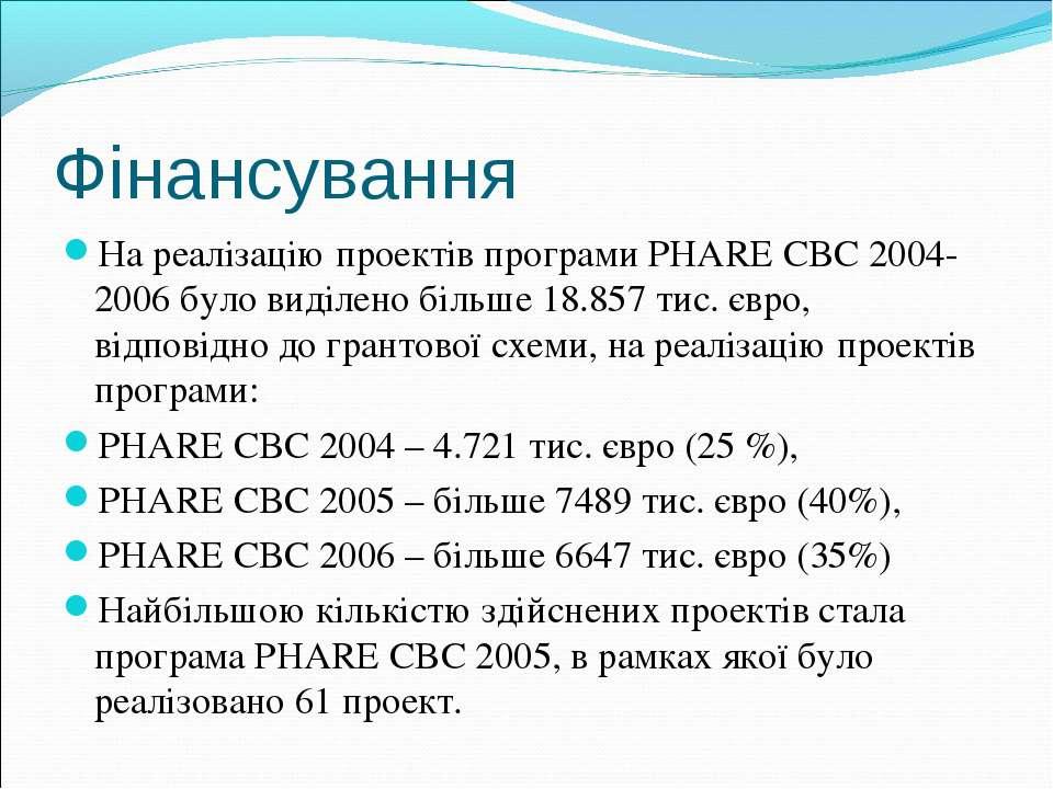 Фінансування На реалізацію проектів програми PHARE CBC 2004-2006 було виділен...