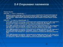 5.4 Отримано патентів Патенти України : 2007-2008: -1, кількість співробітник...
