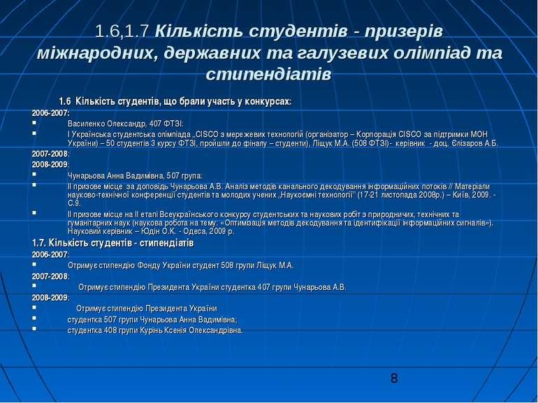 1.6,1.7 Кількість студентів - призерів міжнародних, державних та галузевих ол...