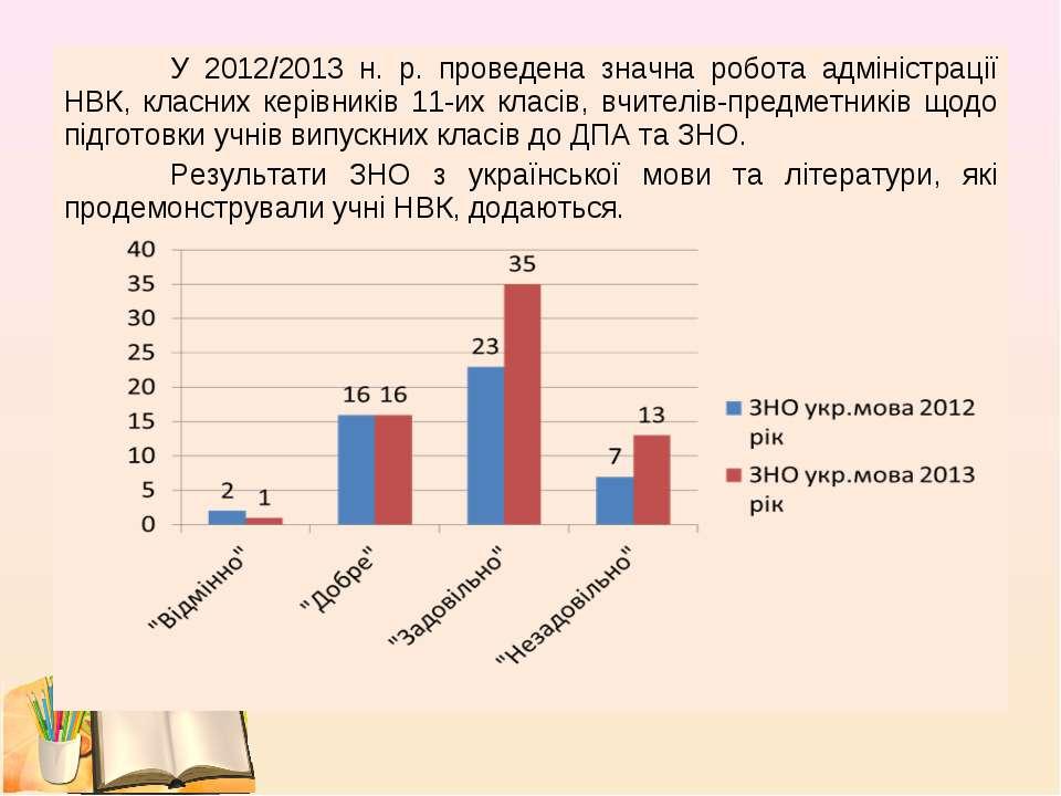 У 2012/2013 н. р. проведена значна робота адміністрації НВК, класних керівник...