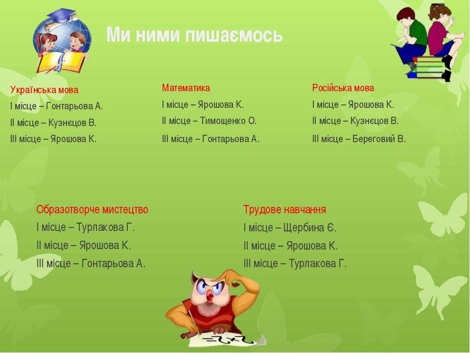 Ми ними пишаємось Українська мова І місце – Гонтарьова А. ІІ місце – Кузнєцов...
