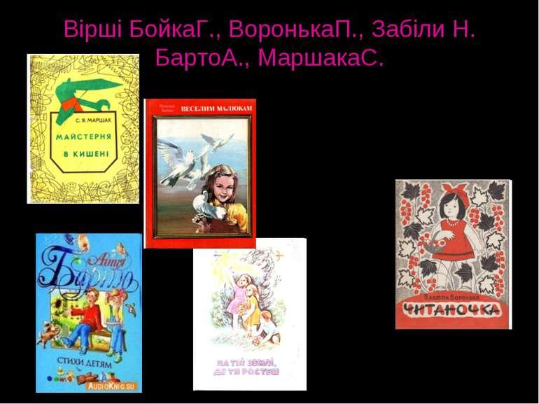 Вірші БойкаГ., ВоронькаП., Забіли Н. БартоА., МаршакаС. Читання віршів - це д...