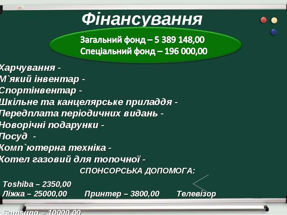 Фінансування Харчування - М`який інвентар - Спортінвентар - Шкільне та канцел...