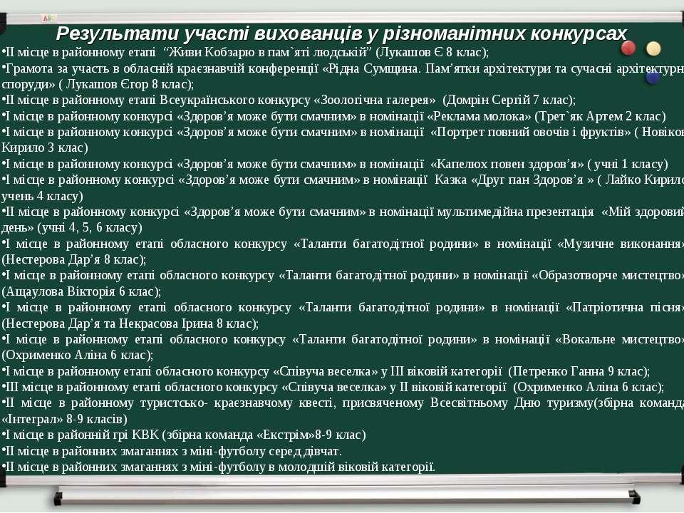 Результати участі вихованців у різноманітних конкурсах ІІ місце в районному е...