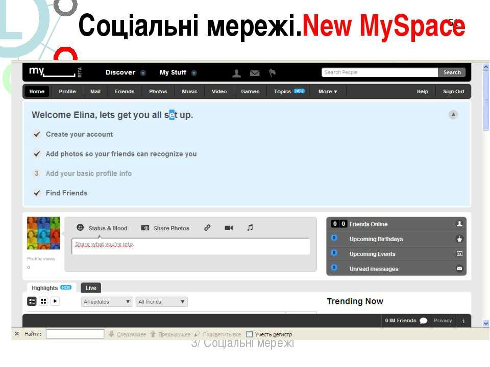 * 3/ Соціальні мережі Соціальні мережі.New MySpace