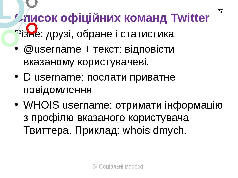 Список офіційних команд Twitter Різне: друзі, обране і статистика @username +...